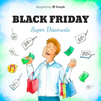 Watercolor black friday sales background with happy man shopping