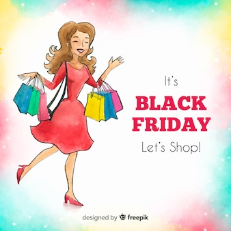 Watercolor black friday sales background with happy woman shopping