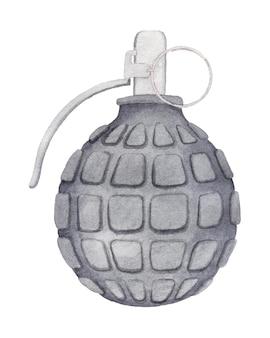 水彩の黒い手榴弾