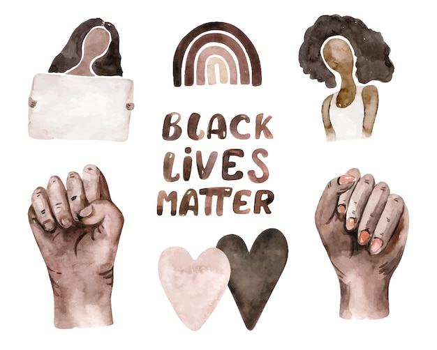 水彩ブラック・ライヴズ・マターのクリップアート。手、女性、心、虹、スポーツ、縞模様、葉。