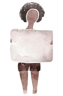 水彩ブラック・ライヴズ・マタークリップアート手女性サインメッセージ