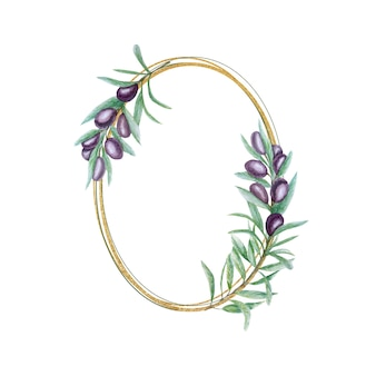 Watercolor black olive wreath, gold frame with olives branch leaves hand painted