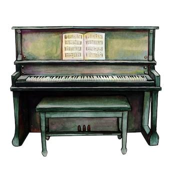 水彩黒アップライトピアノ