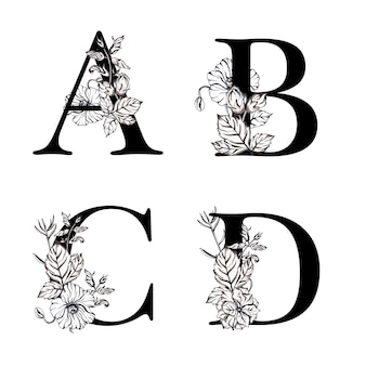 Watercolor black and white floral alphabet letter abcd