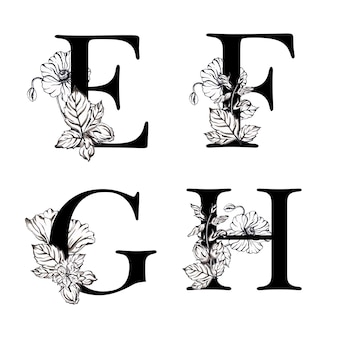 Watercolor black and white floral alphabet letter efgh
