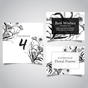 Acquerello cornice in bianco e nero floreale e collezione di carte