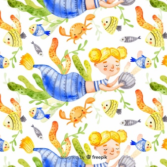 Watercolor blonde smiling mermaid pattern