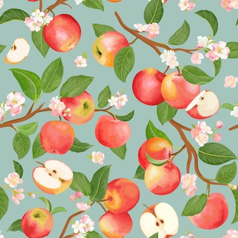 Watercolor blooming apple seamless pattern. vector autumn fruits, flowers, leaves texture. summer botanical background, nature wallpaper, boho backdrop fashion textile, fall wrapping paper