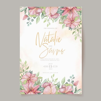 Watercolor blooming floral invitation card