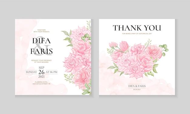 水彩咲く花の結婚式の招待カードテンプレート