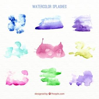 Акварельные кляксы пакет различных цветов