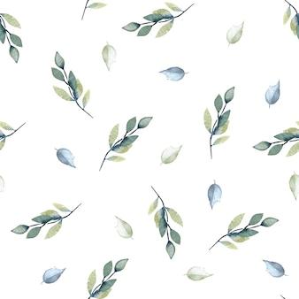 Акварельные синие и серые листья и ветки бесшовные модели