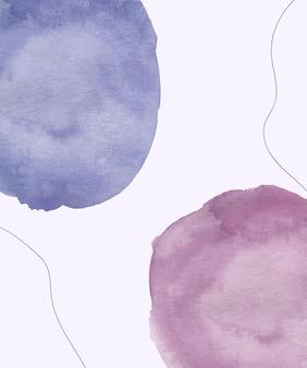 黒い線の背景と水彩の青とピンクのブラシストロークの形