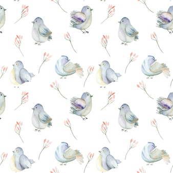 Watercolor blue birds and pink flowers seamless pattern