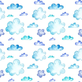 Watercolor blue clouds seamless patterns