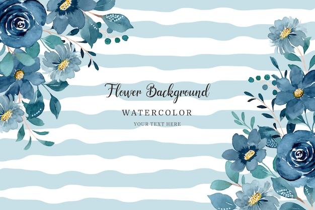 Watercolor blue floral frame on wave background