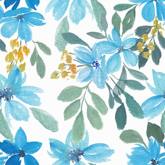 Watercolor blue floral petal seamless pattern