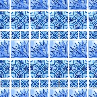 수채화 블루 꽃 원활한 패턴입니다. 도자기 또는 러시아어, 아랍어 및 네덜란드에 중국어 회화 스타일의 벡터 배경