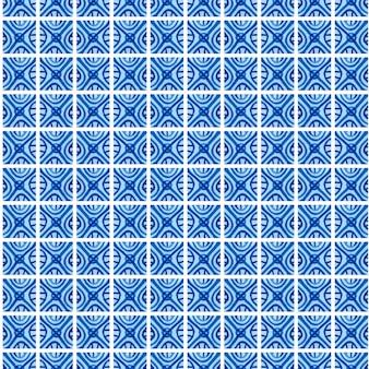 수채화 블루 꽃 원활한 패턴입니다. 도자기 또는 러시아어 gzhel 및 네덜란드 스타일에 중국어 회화 스타일에서 벡터 배경.