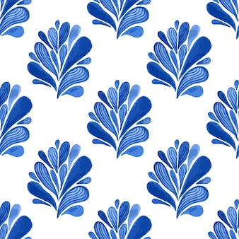 Watercolor blue floral seamless pattern with leaves. vector background for textile, wallpaper , wrapping or fabric design.