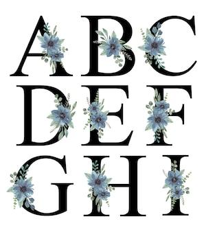 Watercolor blue florals ornament alphabet a-i design premium vector