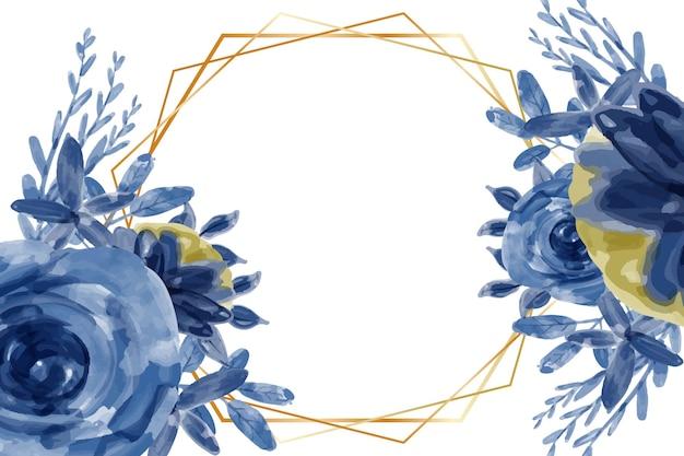 水彩青い花フレームの背景
