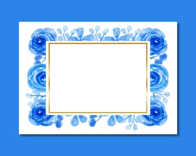 Watercolor blue flower frame background