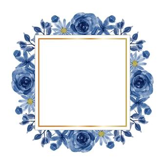 수채화 블루 꽃 프레임 배경