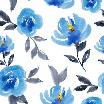 Watercolor blue flower seamless pattern design