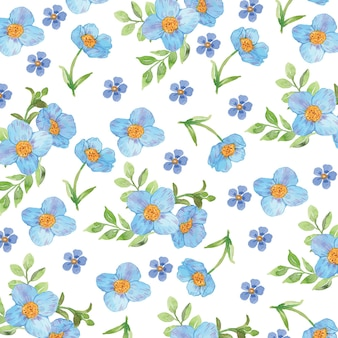 Watercolor blue flower seamless pattern