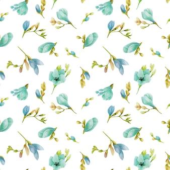 Watercolor blue freesia flowers seamless pattern