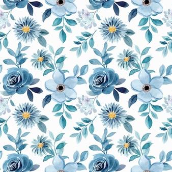 水彩ブルーグリーン花柄シームレスパターン
