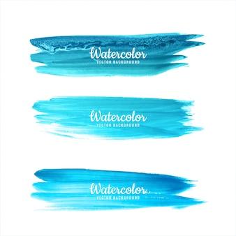 Watercolor blue hand draw strokes set vector illustration