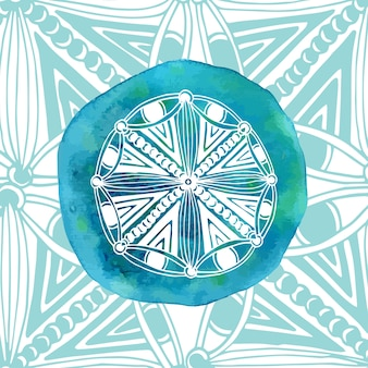 Watercolor blue mandala with ornamental background. asian style. vector logo or icon