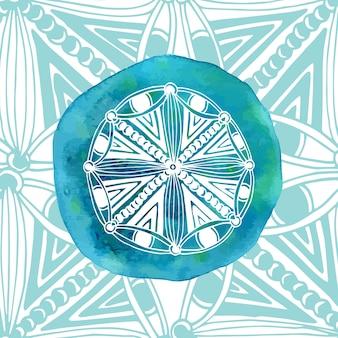 装飾的な背景を持つ水彩の青い曼荼羅。アジアスタイル。ベクターロゴまたはアイコン