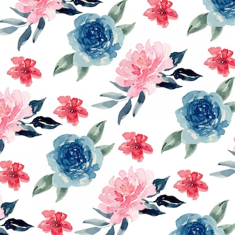 Watercolor blue navy and pink blush loose floral seamless pattern