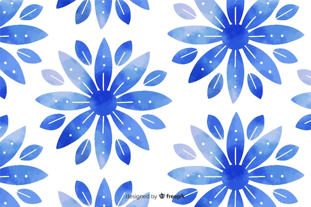 Watercolor blue ornamental flower background
