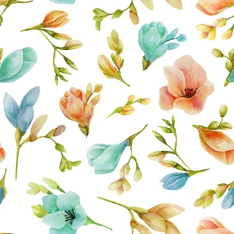 Watercolor blue and peach freesia flowers seamless pattern