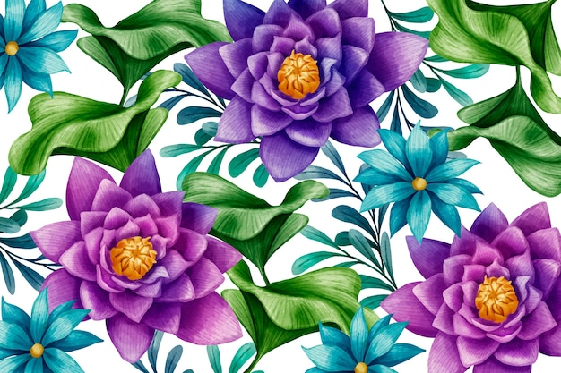 Watercolor blue and purple flowers background