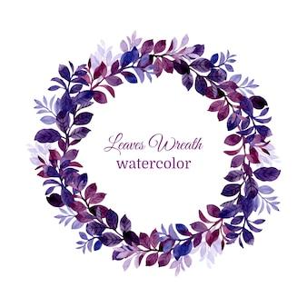 水彩の青紫の葉の花輪