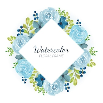 Watercolor blue rose floral border