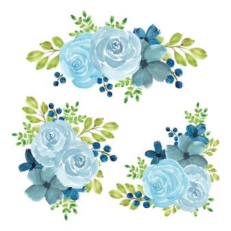 수채화 블루 장미 꽃 꽃다발 세트