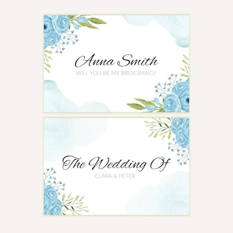 Watercolor blue rose flower bridesmaid greeting card template
