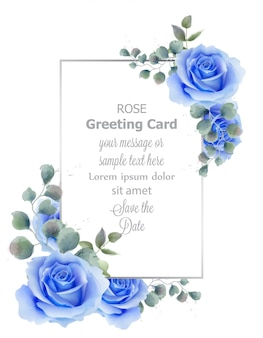 Watercolor blue rose flower card