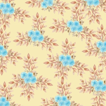 Watercolor blue roses pattern