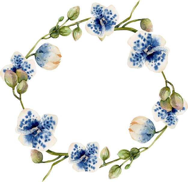 Watercolor blue spotted orchids wreath