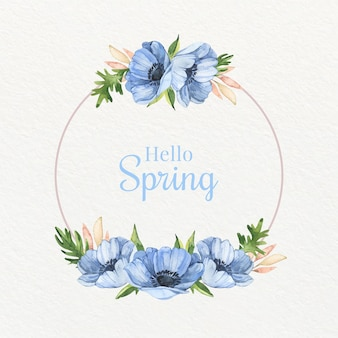 Watercolor blue spring blooming floral frame