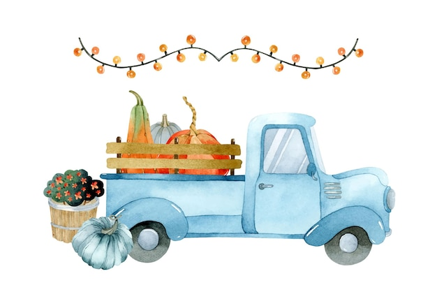 Watercolor blue truck with pumpkins basket with flowers and garland elements set