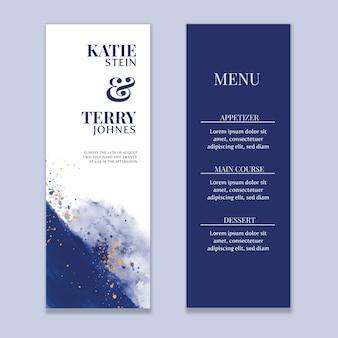 Watercolor blue wash wedding menu