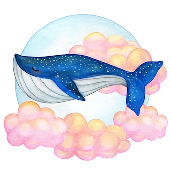 Watercolor blue whale swimming on pink clouds